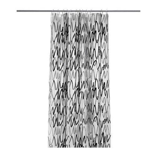 """Ikea Duschvorhang : IKEA Duschvorhang """"Fj?rdgrund"""" in 180x200cm – transparent mit grau"""