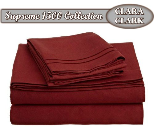 Clara Clark ® Supreme 1500 Collection 4Pc Bed Sheet Set - Queen Size, Burgundy Red