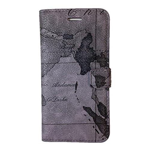 世界地図柄 デザイン ♪ 【 iPhone6 専用 スマホ ケース 】※どこでも置ける粘着シートとの2点セット (グレー)