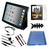 Premium Black Leather Case + Blue Skin Case + Clear Screen Protector + Stylus Pen + 3.5mm Audio Cable + Earphone w/mic + Fishbone Holder for Apple Ipad 2nd Gen 16GB 32GB 64GB
