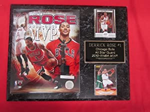 Derrick Rose Chicago Bulls 2 Card Collector Plaque w 8x10 NBA MVP Photo by J & C Baseball Clubhouse