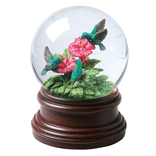 Hummingbirds & Hibiscus Flowers Musical Waterglobe - Plays Waltz Of The Flowers