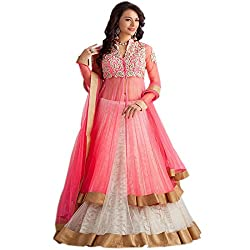 Varibha Women's Branded Indian Style Canderi Cotton Pink Salwar Suit Dress Material ( Best Gift For Mom, Wife, Sister )