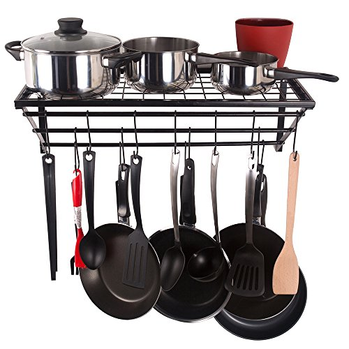 ZESPROKA Kitchen Wall Pot Pan Rack,Pot Rack,Black (Shelf For Pots And Pans compare prices)