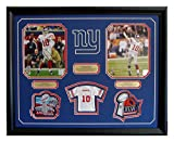 Eli Manning Super Bowl XLI & XLVI Action 8x10s Professionally framed with Mini Jersey and Super Bowl patches