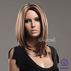 Sexy Long Brown Straight Wigs Wigs Neat Bangs party wigs for Modern Ladies And Women by Gooaction