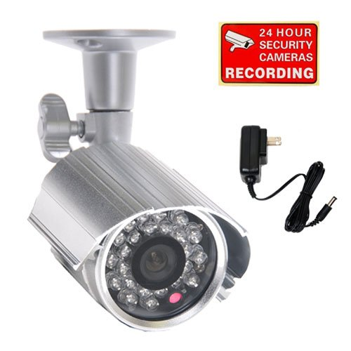 VideoSecu CCTV Home Video Outdoor CCD Bullet Security Camera Day Night 24 IR Infrared LEDs with Free Power Supply 1CJ