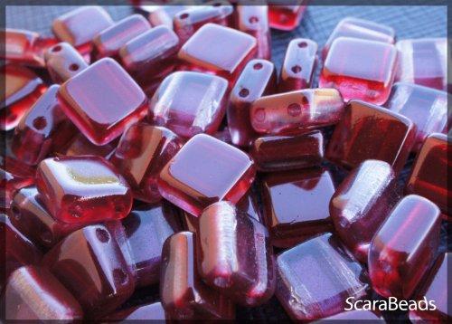 40-pz-tile-beads-ceco-piazza-perline-di-vetro-con-due-fori-rivestimento-perla-da-un-lato-granato-rub