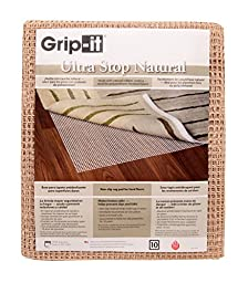 Grip-It Ultra Stop Non-Slip Rug Pad for Rugs on Hard Surface Floors, 5 by 8-Feet, Natural