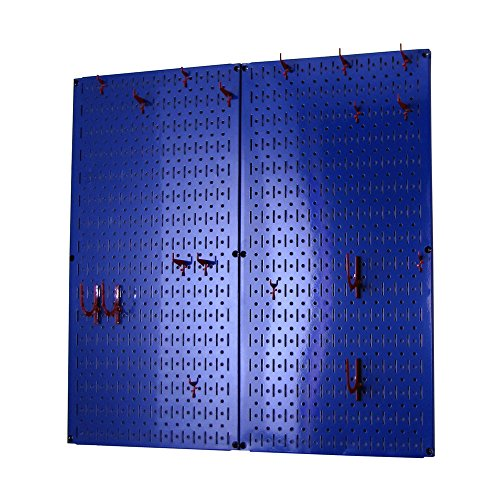 Wall Control Kitchen Pegboard Organizer Pots and Pans Pegboard Pack Storage and Organization Kit with Blue Pegboard and