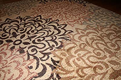 New City Brand New Contemporary Brown and Beige Modern Floral Flowers Area Rug