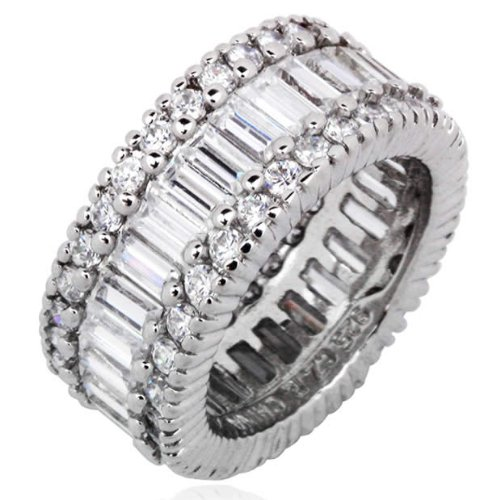 Sterling Silver and Cubic Zirconia Cosmopolitan Eternity Ring; size 8.0