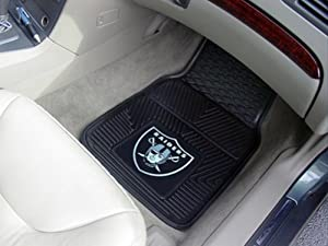 Oakland Raiders Black 2-Piece Vinyl Car Mat Set by Fanmats