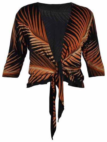 Ladies Printed Black & Rust Shawl Womens 3/4 Length Sleeve Cardigan Front Tie Top Plus Size Shrug