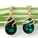 Generic 18k Gold Plated Crystal Green Zircon Snake Drop Dangle Earrings