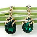 Navachi 18k Gold Plated Crystal Green Zircon Snake Drop Dangle Earrings