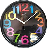 Heart's Round Wall Clock with Funky Color Number Panel with Black Color Body (One Year Warranty+ Strong Built Quality)