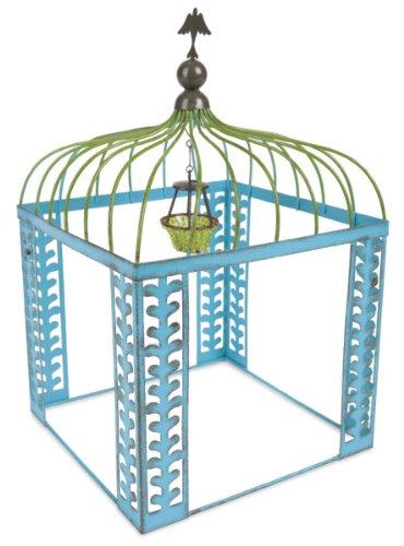 128 Gypsy Garden - Miniature Blue Metal Vine Gazebo with Green Chandelier for Fairy Garden Studio M