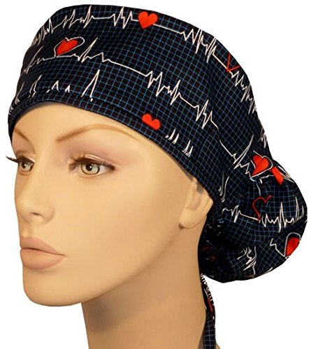 Big Hair Women's Surgical Scrub Caps - Heartbeats on Navy (Scrub Cap Navy compare prices)