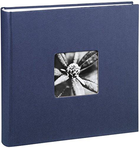Jumbo Fotoalbum Fine Art 30 x 30 cm 100 Seiten 50 Blatt mit Ausschnitt für Bildeinschub blau