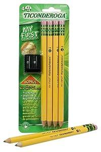 My First Ticonderoga Primary Size #2 Beginner Pencils, Pre-Sharpened, 4 Pencils with Bonus Sharpener, Yellow (33309)