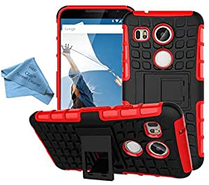 CZap Tough Stand Case Hard Armor Back Cover for LG Nexus 5X - Red