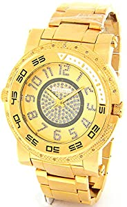 JOJINO Real Diamond Watch Mens Deluxe Gold Tone Case Metal Band MJ-1227
