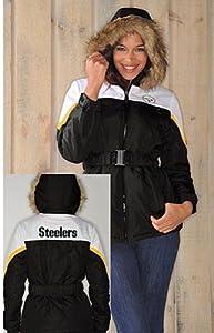 Nfl- Pittsburgh Steelers Ladies the Looker Jacket with Faux Fur Trim Hood medium by g 111