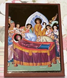 Jerusalem Icon Dormition or Repose of the Virgin Mother (Icon Print on Wood) Med Size