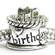 925 Sterling Silver Peridot Cz Birthday Cake Bead Birthstone August for European Charm Bracelets
