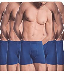 Alfa Stylo Men's Cotton Long Trunk/Drawer H-Back IE [90cm] - Pack of 5 (Assorted Color)