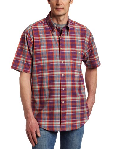 Pendleton Men's Short Sleeve Oceanside Shirt, Purple/Turquoise Plaid, Large