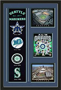 MLB Seattle Mariners Banner With Logos-Safeco Field , Night Game photo, Seattle... by Art and More, Davenport, IA