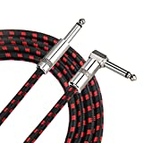 Amosic Guitar Cable, 10 Feet Bass Keyboard Instrument Cable Straight to Right Angle 1/4 Inch Plug with Tweed Cloth Jacket