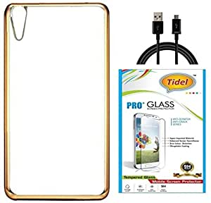 Tidel Golden border Soft Flexible TPU Back Cover for HTC Desire 828- Gold With Tidel 2.5D Curved Tempered Glass &DATA CABLE
