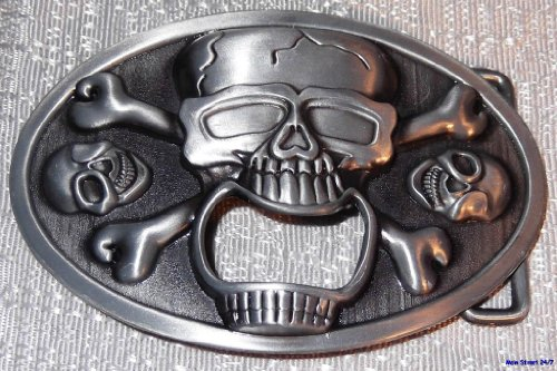 SKULL & CROSSBONES Pewter Bottle Opener Biker BELT BUCKLE