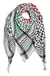 Hirbawi Kufiya Original Men\'s Arab Scarf One Size Black, Red and Green on White