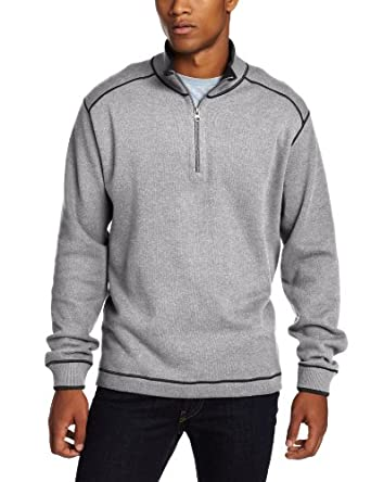 Cutter & Buck Men's Overtime Half Zip Overknit,Charcoal Heather/Black,US XXL