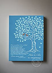 MuralMax - Custom Family Tree & Lovebirds, Stretched Canvas Wall Art, Make Your Wedding & Anniversary Gifts Memorable, Unique Decor, Color Teal # 2 - 30-DAY - Size - 20x24