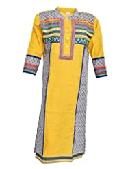 ShiVi Women's Cotton Straight Kurti (ShiVi#1049, Multicolour, M)