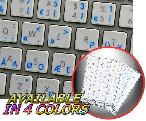 APPLE PROGRAMMER DVORAK STICKER FOR KEYBOARD WITH BLUE LETTERING TRANSPARENT BACKGROUND FOR DESKTOP, LAPTOP AND NOTEBOOK