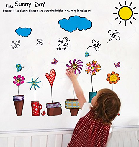 Colorful-Decals© Flower & Sky & Sunny Day Wall Decals Home Decor Large Wall Stickers & Murals Wall Decal Wallpaper and Removable Wall Décor Decorative Painting Supplies & Wall Sticker for Living Room bedroom wallpops decal
