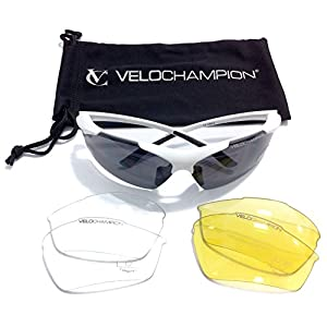 VeloChampion Tornado Cycling Running Sports Sunglasses - White with 3 Sets of Lenses and Soft Pouch - for outdoor sports like cycling running golfing trekking hiking skiing shooting fishing and driving by Maxgear Limited