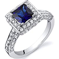 Princess Cut 1.00 Carats Blue Sapphire Engagement Ring in Sterling Silver Rhodium Nickel Finish Available in Size 5 thru 9 from Peora