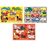 Melissa & Doug Deluxe Mix 'n Match Peg Puzzle 3 Pack Bundle