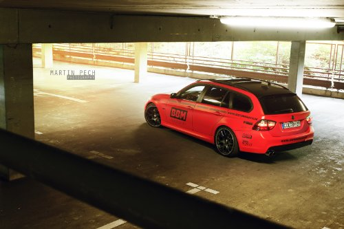 """Bmw 330D (E91) By Bbm Motorsport (2013) Car Art Poster Print On 10 Mil Archival Satin Paper Red Rear Driver Side Static View 20""""X15"""""""