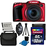 Canon Powershot SX400 IS 16.0 MP Digital Camera with 30x Optical Zoom and 720p HD Video (RED) With Case + Extra Battery & 32GB SD Card Deluxe Accessory Bundle