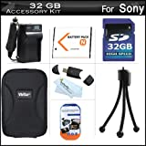 32GB Accessories Kit For Sony Cyber-Shot DSC-W530 Digital Camera Includes 32GB High Speed SD Memory Card + Extended Replacement (1100 maH) NP-BN1 Battery + AC/DC Travel Charger + USB 2.0 Card Reader + Case + Mini TableTop Tripod + Screen Protectors + More ~ ButterflyPhoto