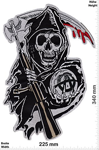 Patch - Sons of Anarchy - 34 cm - BIGPATCH - Rocker - Biker - Vest - Iron on Patch - toppa - applicazione - Ricamato termo-adesivo - Give Away