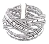 2 Pieces of Ladies Silver Beads & Oval Shapes Designer Style Adjustable Bangle Bracelet